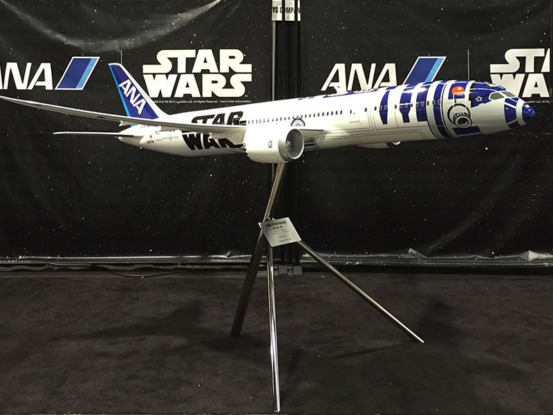 All Nippon Airways debuted their 787 R2-D2 livery on a 1/20 scale model (over 10 feet or 3 meters in length) at the Star Wars Celebration in Anaheim.