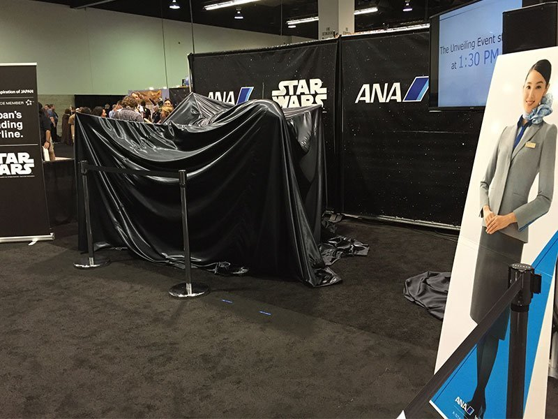 All Nippon Airways debuted their 787 R2-D2 livery on a 1/20 scale model at the Star Wars Celebration in Anaheim.
