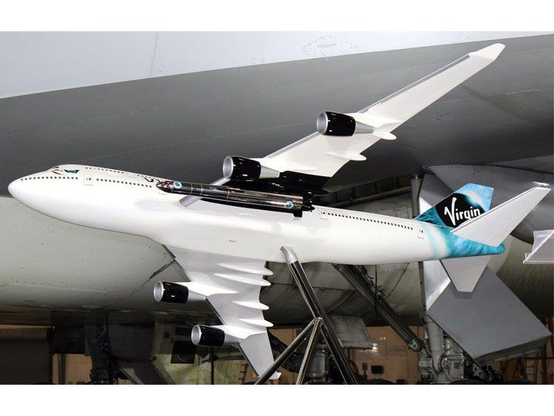 1/25 scale PacMin Virgin Galactic 747-400 exhibit model with LauncherOne rocket. // Photo courtesy of Virgin Galactic