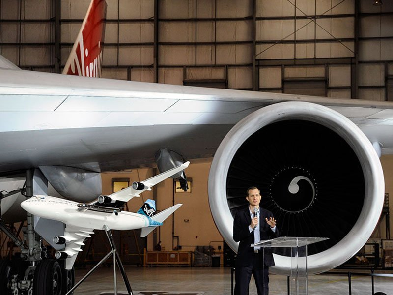 Virgin Galactic CEO George Whitesides announced the selection of a Boeing 747 as the dedicated aircraft for the LauncherOne program. // Photo courtesy of Virgin Galactic