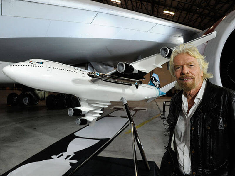 Richard Branson at Virgin Galactic event, where they announced the selection of a Boeing 747 as the dedicated aircraft for the LauncherOne program. // Photo courtesy of Virgin Galactic