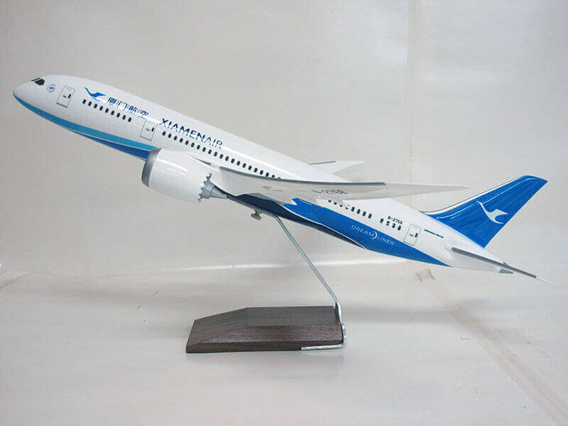 "1/100 scale 787-8 PacMin Xiamen Airlines desktop model. It measures 22"" (57cm) long with a 24"" (60cm) wingspan."
