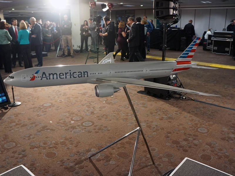 Large scale PacMin model takes center stage at the NASDAQ event. The new American will retain their recently rebranded image and livery. / Photo courtesy of Airchives/Chris Sloan