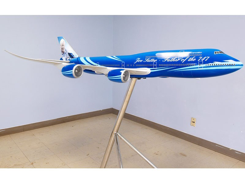 1/40 scale 747-8 in custom commemorative livery, honoring Joe Sutter. Its wingspan measures over 6 feet long (2 meters). / Photo courtesy of PacMin