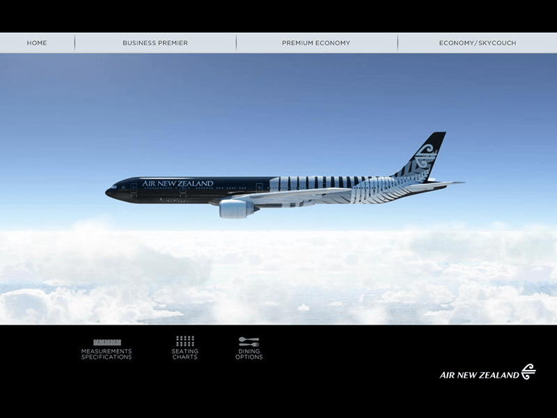 Preview of Air New Zealand mobile app with CGI and 3D rendering