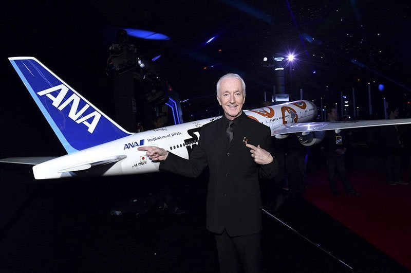 Anthony Daniels who plays Star Wars character C-3PO with a 1/20 scale BB-8 ANA JET produced by PacMin // Photo courtesy of All Nippon Airways