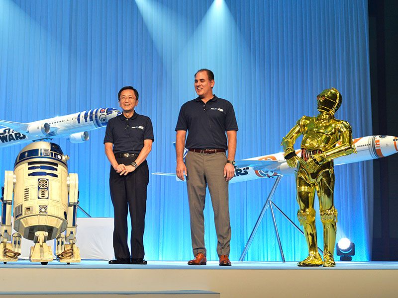 ANA's Star Wars Project now includes a 787 R2-D2 Jet, 777 BB-8 Jet and a 767 Star Wars Droids Jet. // Photo courtesy of All Nippon Airways