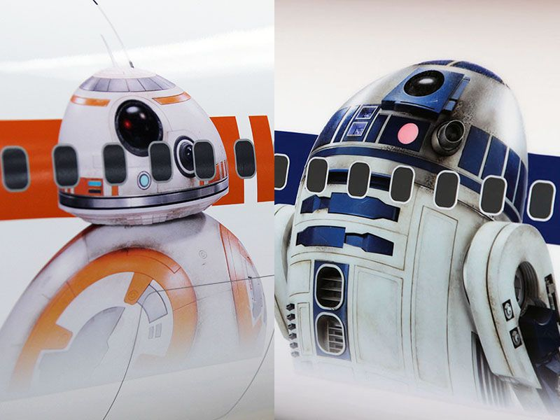 Close up of the two droid characters to be featured on ANA's Boeing 767-300 Star Wars Jet.