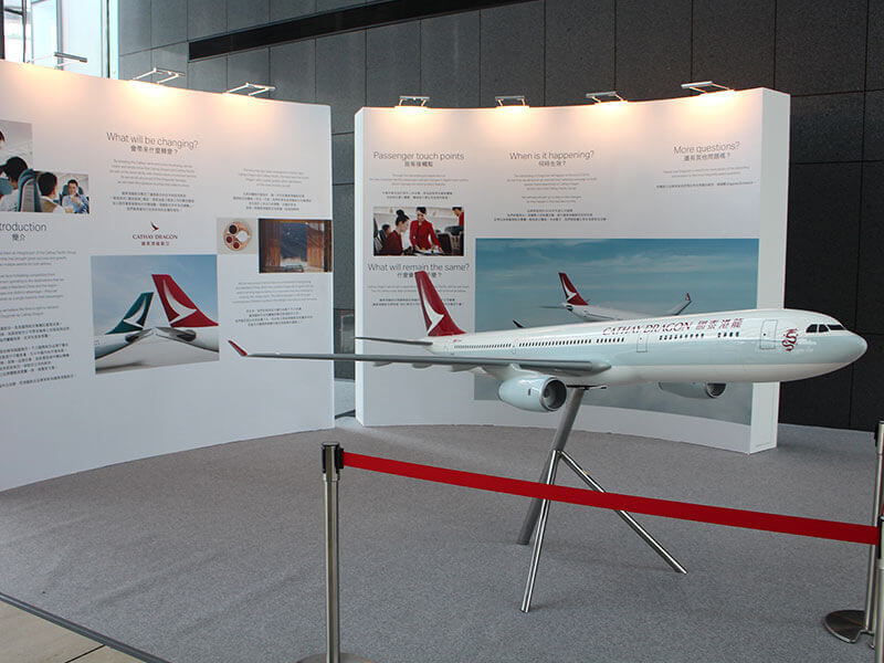 This 1/20 scale Cathay Dragon A330-300 PacMin exhibit model (9.5 ft or 3 m in length) is on display at the entrance hall of the Dragon House at the Hong Kong International Airport. / Photo courtesy of PacMin