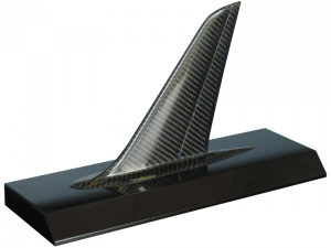 one of our aviation models, a composite tail on acrylic base