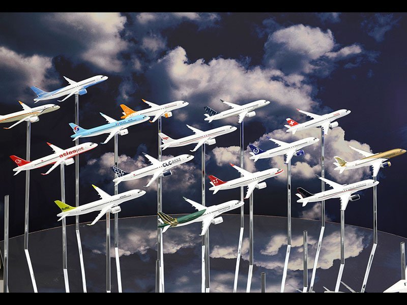 Wall of desktop models in flight in Bombardier CSeries customer liveries. / Photo courtesy of AINOnline