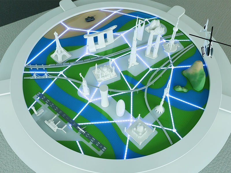 The 7 foot (2 meter) diorama highlights Thales' diverse market segments and capabilities.