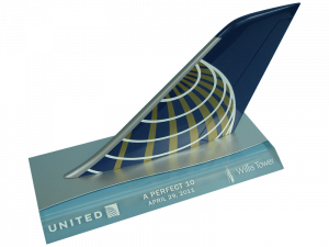 United Boeing 747 tail model on acrylic and aluminum base