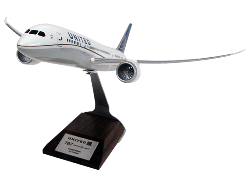 1/144 scale 787 model in United paint scheme with personalized nameplate