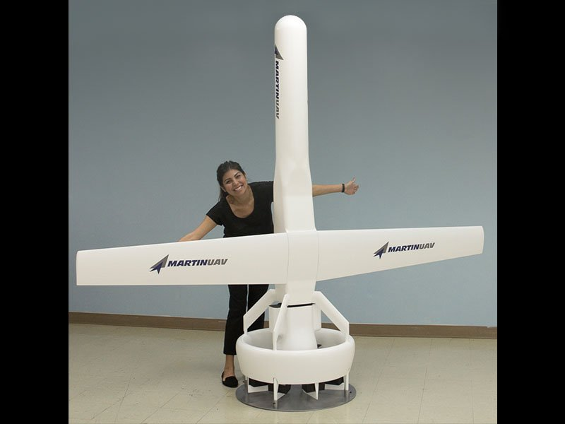 This full scale VBAT mock-up stands 8 feet (2.4 m) tall and features a spinning rotor at its base.
