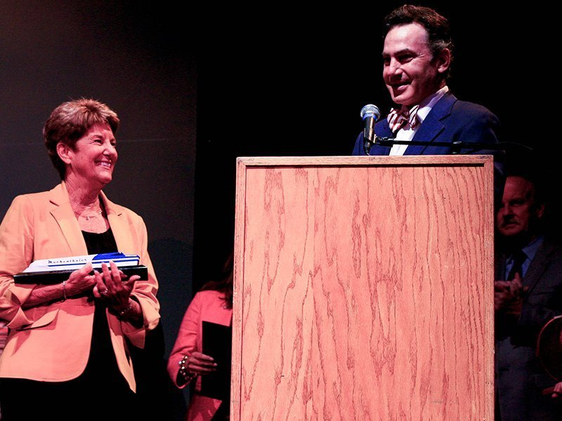 Vicky Schindele receives the Art Legacy Award at the 2nd Annual Fullerton Arts Legacy Awards / Photo courtesy of the Muckenthaler
