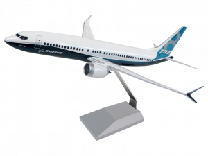 1/100 scale Boeing 737 MAX 8 desktop model in house livery and upgraded base