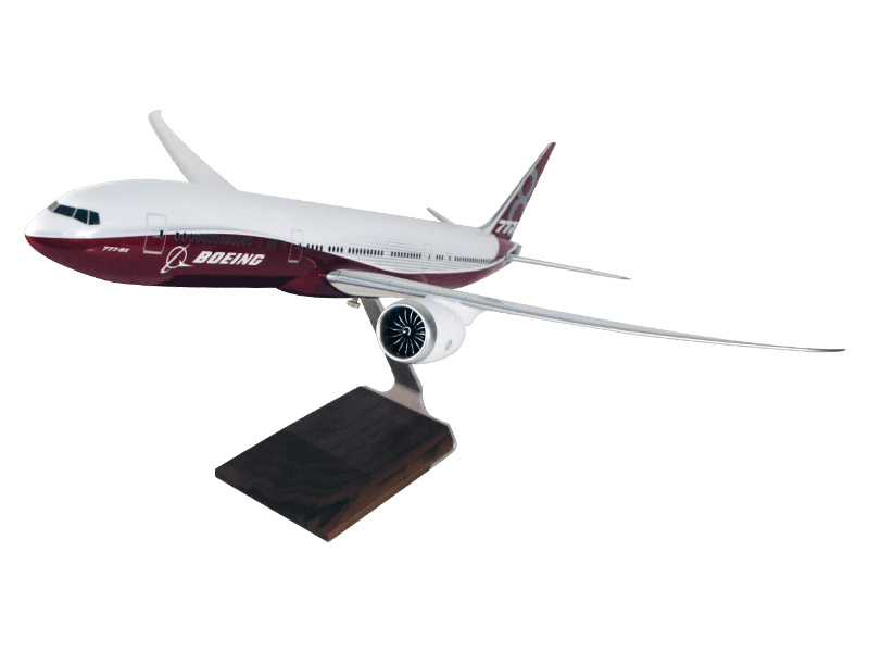 1/100 scale Boeing 777-8X desktop model in house livery with wood base upgrade