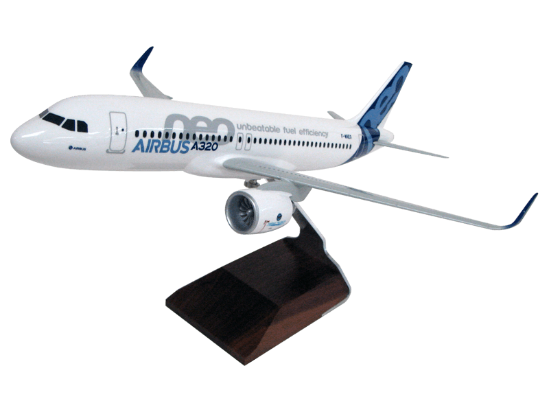 1/100 scale Airbus A320neo desktop model in commemorative roll out livery and upgraded base
