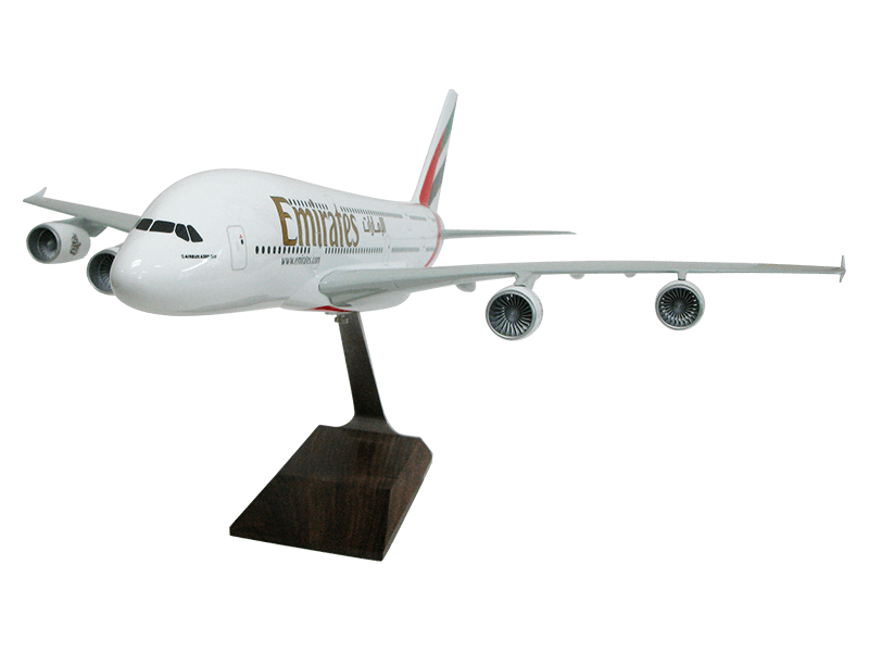 1/100 scale Airbus A380 custom scale model in Emirates livery with wood base upgrade
