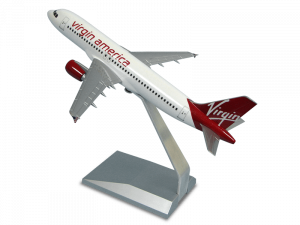 1/144 scale Airbus A320 Virgin America desktop model with upgraded base