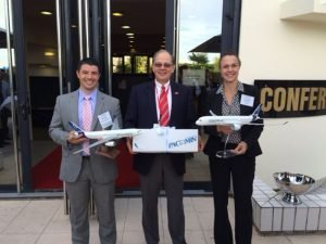 Lucky winners of SpeedNews' PacMin model airplane raffle. They recieved an A320 (left), A330 and A350 (supplied by Airbus). / Photo courtesy of SpeedNews
