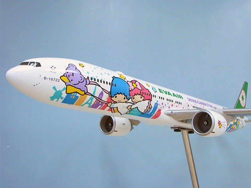 "1/50 scale Boeing 777-300ER in special ""Shining Star"" livery for EVA Air"