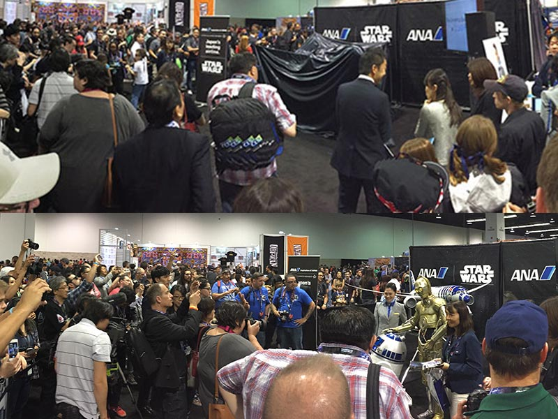Attendees lined up throughout Star Wars Celebration to see ANA's R2-D2 Jet.