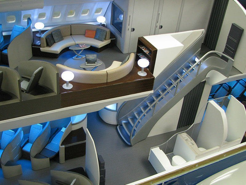 Close up of interior of 1/20 scale 747-8i cutaway model