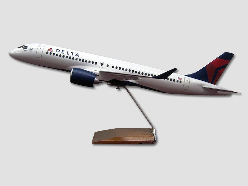 1/55 scale CS300 desktop model in Delta livery. It measures 28