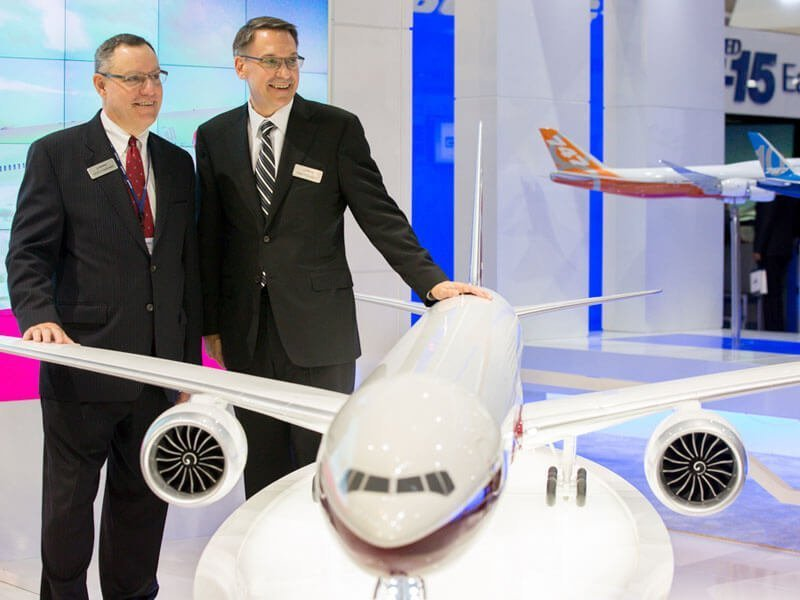 1/20 scale PacMin Boeing 777X model on display at the 2013 Dubai Airshow. // Photo courtesy of Bloomberg