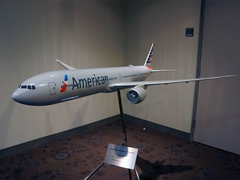 Large scale PacMin 777-300ER American Airlines exhibit model. The new American will retain their recently rebranded image and livery. / Photo courtesy of Airchives/Chris Sloan