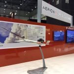 1/20 scale exhibit model of Aerion's supersonic AS2 jet with custom pivot base