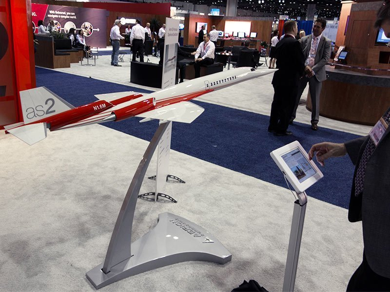 1/20 scale Aerion AS2 supersonic business jet model on display at NBAA 2014. / Photo courtesy of PacMin