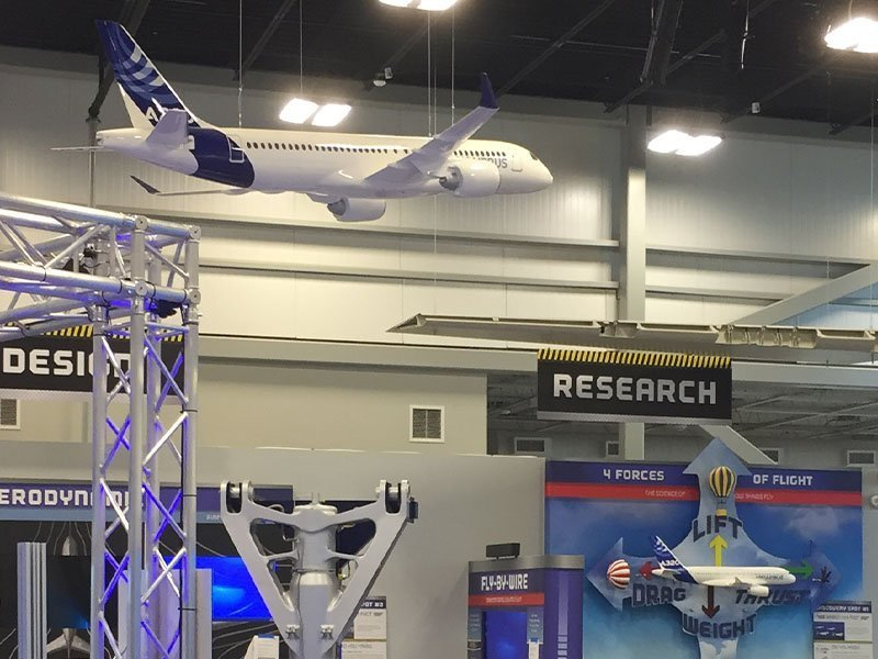 Airbus A220 model suspended from ceiling