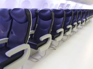 close up of aircraft seats