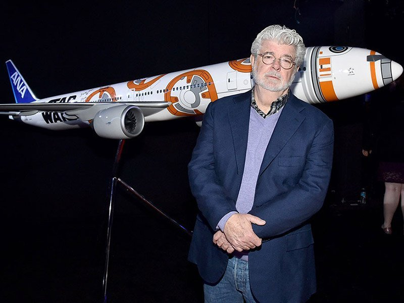 George Lucas with a 1/20 scale BB-8 ANA JET produced by PacMin // Photo courtesy of All Nippon Airways
