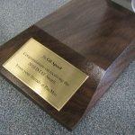plaque congratulating Gill Speed