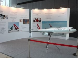 1/20 scale Cathay Dragon A330-300 PacMin exhibit model on display at the entrance hall of the Dragon House at the Hong Kong International Airport
