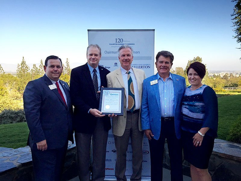 PacMin, Inc. is honored as the Large Business of the Year by the Fullerton Chamber of Commerce. Greg Sebourn, Fullerton Mayor (left), Dan Ouweleen, PacMin President, Fred Ouweleen, PacMin CEO, Doug Chaffee and Jennifer Fitzgerald, Fullerton City Council members. // Photo courtesy of PacMin