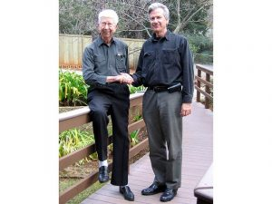 Don Meeker, one of the original founders of Pacific Miniatures, and Fred Ouweleen, PacMin CEO, in Paradise, California.