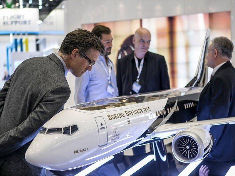 Attendee examines BBJ cutaway model
