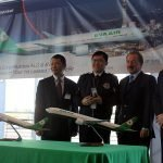 EVA Air unveiled their new livery on a Boeing 777-300ER. PacMin models of the aircraft were present to commemorate the event. // Photo courtesy of Airline Reporter