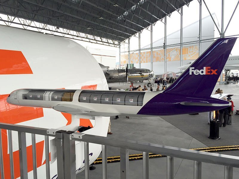 This 1/25 scale 757-200 cargo cutaway is on display at the new Aviation Pavilion at the Museum of Flight. The cutaway measures 6.2' (2 m) long. / Photo courtesy of FedEx