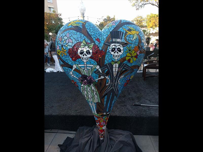 "60"" heart sculpture by local artists for All the Arts"