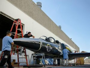 PacMin Studio makes an initial inspection of the full scale Breitling Jet mock up