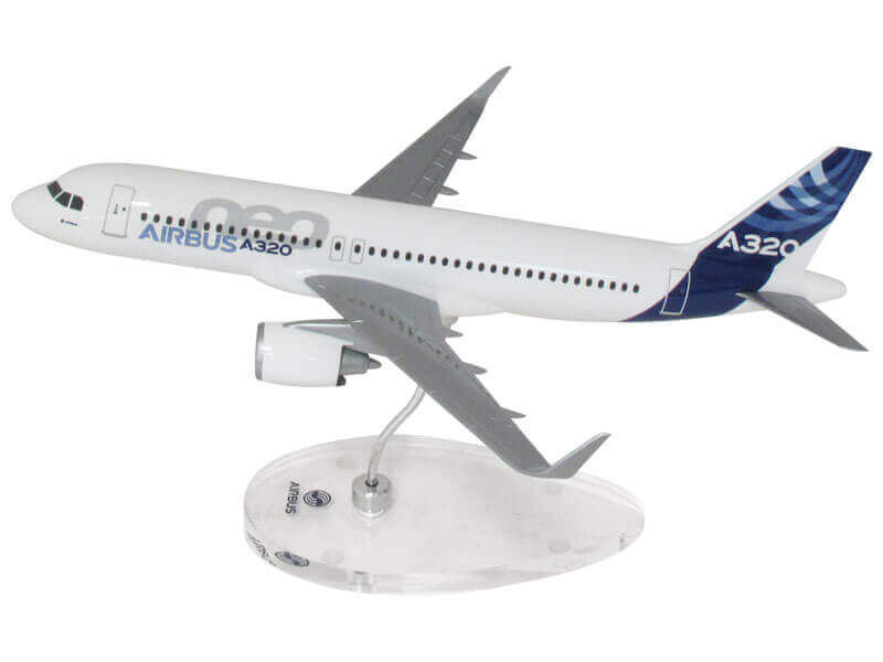 1/100 scale Airbus A320neo model on custom Airbus base