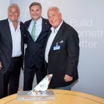 Boeing and MG Aviation commemorate deal with 1/50 scale 787-9 Tail Model. / Photo courtesy of Boeing