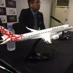 """1/72 scale desktop model of a MRJ 70 aircraft in customer Rockton's livery. The model is 18.3"""" (46.4 cm) long with a 16"""" (40.6 cm) wingspan. / Photo courtesy of Airways"""