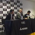 Hiromichi Morimoto MRJ CEO announces LOI from Rockton for 10 MRJ aircraft at Farnborough 2016. / Photo courtesy of Airways